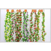 仿真玫瑰花藤假花护栏吊顶壁挂藤条藤蔓室内阳台墙贴暖气管管道