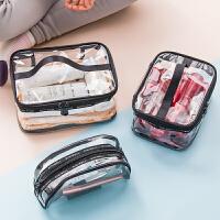 透明化妆包大容量出差简约便携时尚三件套果冻画妆包女手提洗漱包