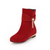 女童靴子韩版2018冬秋单靴小女孩短靴水钻花朵公主亲子马丁靴童鞋真皮