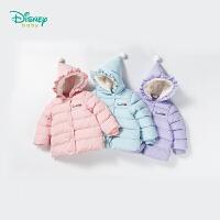 迪士尼Disney童装 女童夹棉外套冬季新款花边巫师帽保暖外出服宝宝卡通公主上衣184S1043