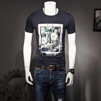 男士短袖T恤夏季男装半袖印花体恤韩版修身打底衫圆领大码衣服潮 2X