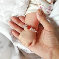 宝宝银手镯一对990宝宝银饰婴儿银镯子儿童长命锁吊坠满月礼物银脚镯送小孩抓周岁首饰品