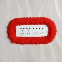 118型长方形布艺蕾丝开关贴开关套双开三开插座贴套子墙贴六 红色 大红16朵19.5*7.5