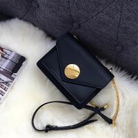 锁扣包包女新款潮 韩版 百搭斜跨休闲女包时尚单肩包女链条包 黑色 预售