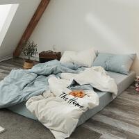 简约水洗棉四件套纯色拼接刺绣双人被套床单超柔床上用品