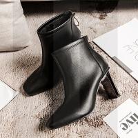 2018秋冬新款白色高跟鞋女方头粗跟短靴前拉链英伦风马丁靴皮靴潮SN4122 黑色 后拉链