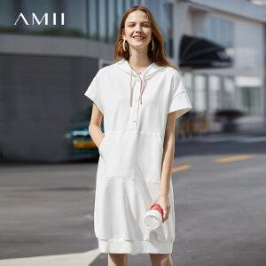 【1件5折到手价161.5】Amii极简日系学生风连衣裙2019夏季新款小清新撞色连帽短袖卫衣裙