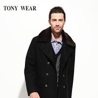 TONY WEAR/汤尼威尔秋冬男士商务双排扣大衣休闲毛领长袖大衣