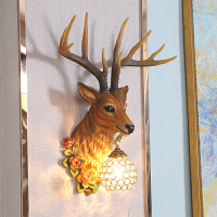欧式创意鹿头壁灯客厅电视背景墙水晶灯具楼梯过道走廊复古鹿角灯 7725鹿头壁灯 仿真色