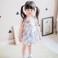 夏款上新女童背心裙 韩版夏款 儿童无袖碎花百褶连衣裙