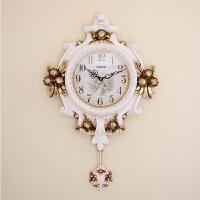 钟表欧式挂钟客厅时尚创意时钟 卧室个性艺术壁钟墙钟新房家用钟 16英寸