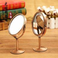 创意红/青复古镜子 台式金属化妆镜 出口原单椭圆形小镜子