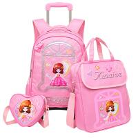 小学生拉杆书包女2-3-5年级三轮 儿童双肩包6-12周岁