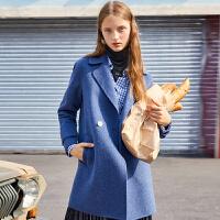 【参考到手价:380元】大衣女中长款迪赛尼斯冬季女装气质显瘦双面呢外套