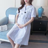 妈咪韩版显瘦孕妇裙子女孕妇夏装连衣裙2018新款中长款怀孕期