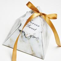 新品喜糖盒 用品三角形欧式小乔迁之大理石纹小清新 结婚喜糖 白色大理石 200个 [可装2粒费列罗]