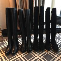 过膝长靴女秋冬新款5050弹力靴平底皮单靴加绒高筒骑士靴长筒靴子