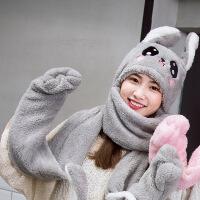 №【2019新款】情侣宝宝加厚冬天女士儿童带手套帽子的围巾甜美一体女童韩版
