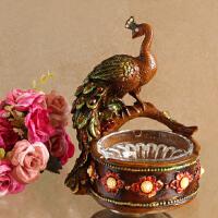 奢华欧式装饰烟灰缸孔雀艺术摆件客厅时尚创意烟缸工艺礼品摆设 A0577Q