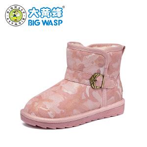 大黄蜂童鞋 儿童雪地靴女童靴子2018冬季新款小学生加绒中筒棉靴