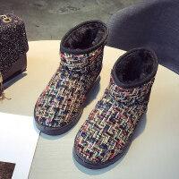 网红短筒雪地靴女一脚蹬冬百搭学生可爱加绒厚底面包棉鞋