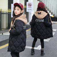 女童棉衣冬装韩版洋气小女孩加厚外套中长款儿童棉袄 黑色 卫衣帽款