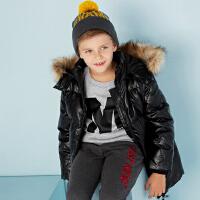 美特斯邦威旗下moomoo童装男童羽绒服冬季装黑色洋气鸭绒加厚中大儿童外套
