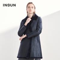 INSUN/恩裳摩登绵羊皮革保暖羊皮毛一体中长款大衣外套女