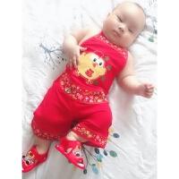宝宝肚兜套装夏 婴儿唐装红肚兜 新生儿套装婴儿百天周岁庆生服红