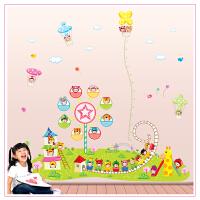 墙纸装饰墙贴纸 游乐园贴画 卡通儿童动漫创意田园卧室房间壁画
