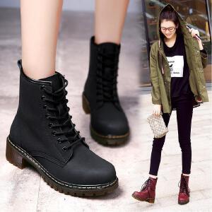 公猴新款秋冬马丁靴女英伦风粗跟短靴百搭透气真皮中筒平底靴中跟女靴子短筒靴587