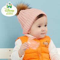 迪士尼Disney童装宝宝帽子秋冬新款纯棉男女童舒适保暖毛线帽174P778