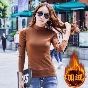 秋冬装半高领加绒打底衫女长袖t恤纯色棉小衫修身显瘦上衣