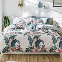 床上四件套纯棉全棉被套床单三件套北欧风简约印花单双人床品2.0m 2.0m(6.6英尺)被套220x240cm 床单