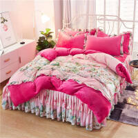 韩式床罩床裙四件套珊瑚绒 法兰绒冬季加绒加厚被套毛绒被罩花边