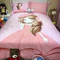 �和�床上用品四件套卡通女孩�棉1.2米床品三件套1.5m床笠1.8