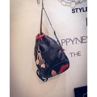 新款韩版潮流水洗皮双肩包斜挎包女包时尚休闲背包旅行包百搭包包 黑色