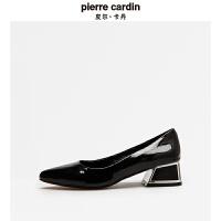 皮尔卡丹专柜正品2018新款女鞋春夏季舒适中跟鞋粗跟小皮鞋女单鞋