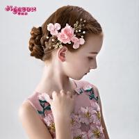 女童发饰头花儿童饰品发饰女童头饰公主女孩发卡粉色花朵亮钻发夹