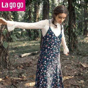 【清仓3折价149.7】Lagogo2019早春季新款时尚喇叭袖蕾丝上衣两件套女吊带雪纺连衣裙