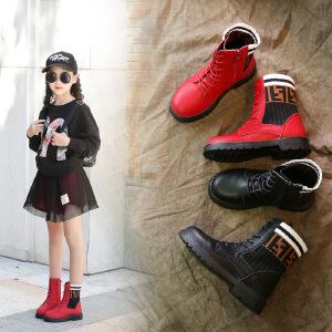 2018秋季新款儿童公主皮靴韩版百搭女童袜子靴时尚单靴高帮靴子潮