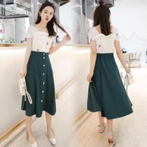 套装女夏季韩版复古木耳边短袖上衣+高腰单排扣半身裙时尚两件套