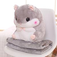 靠枕沙发办公室空调被枕头可爱仓鼠抱枕被子两用汽车午睡靠垫毯子