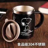 史努比创意办公室不锈钢水杯马克杯 茶杯喝水带盖勺咖啡杯家用杯子