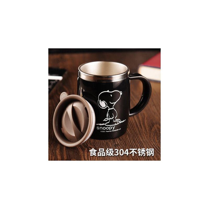 史努比创意办公室不锈钢水杯马克杯 茶杯喝水带盖勺咖啡杯家用杯子 304不锈钢 带盖送勺子送杯刷