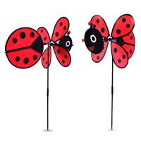 韩国户外野营玩具儿童风车彩虹轮七彩小瓢虫蜜蜂风车防水装饰红色