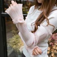 2018新款蕾丝防晒袖套女夏季长款手套开车户外防紫外线冰丝手臂套 均码