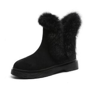 WARORWAR新品YM151-S833冬季韩版平底舒适真兔毛女士靴子短靴