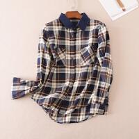 新款纯棉咖啡格子衬衫女 长袖学生韩版修身气质上衣 WA3295