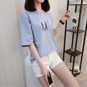 2018新款纯棉白色t恤女短袖韩范韩版学生上衣服宽松百搭半袖夏季